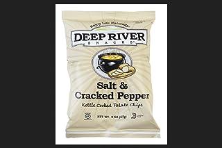 Deep River Snacks Salt & Cracked Pepper Kettle Cooked Potato Chips 2 oz. Bagged - Case of: 24;