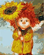 Painting by Numbers DIY Oil Painting for Adult Cute Angel and Sunflower Canvas Print Wall Art Decoration 40X50Cm