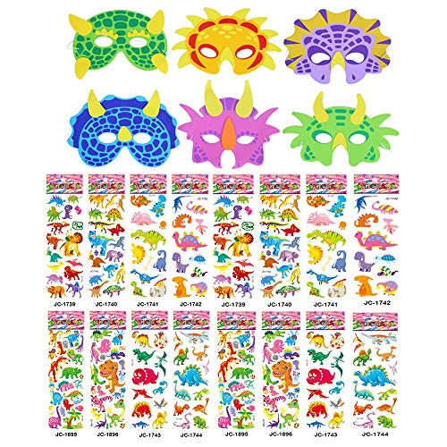 SULOLI 6 Dinosaur Foam Mask with 16 Sheets 3D Dinosaur Stickers for Kids Dinosaur Party Gifts