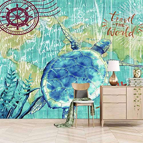 wallpaper for bedroom 3d 350x245cm Blau Tier Schildkröte Koralle selbstklebend Wandbild Wand Abnehmbare Tapete 3D Effekt Aufkleber 3d wandbilder Wohnzimmer Schlafzimmer Fenster Küche Flur Dekoration