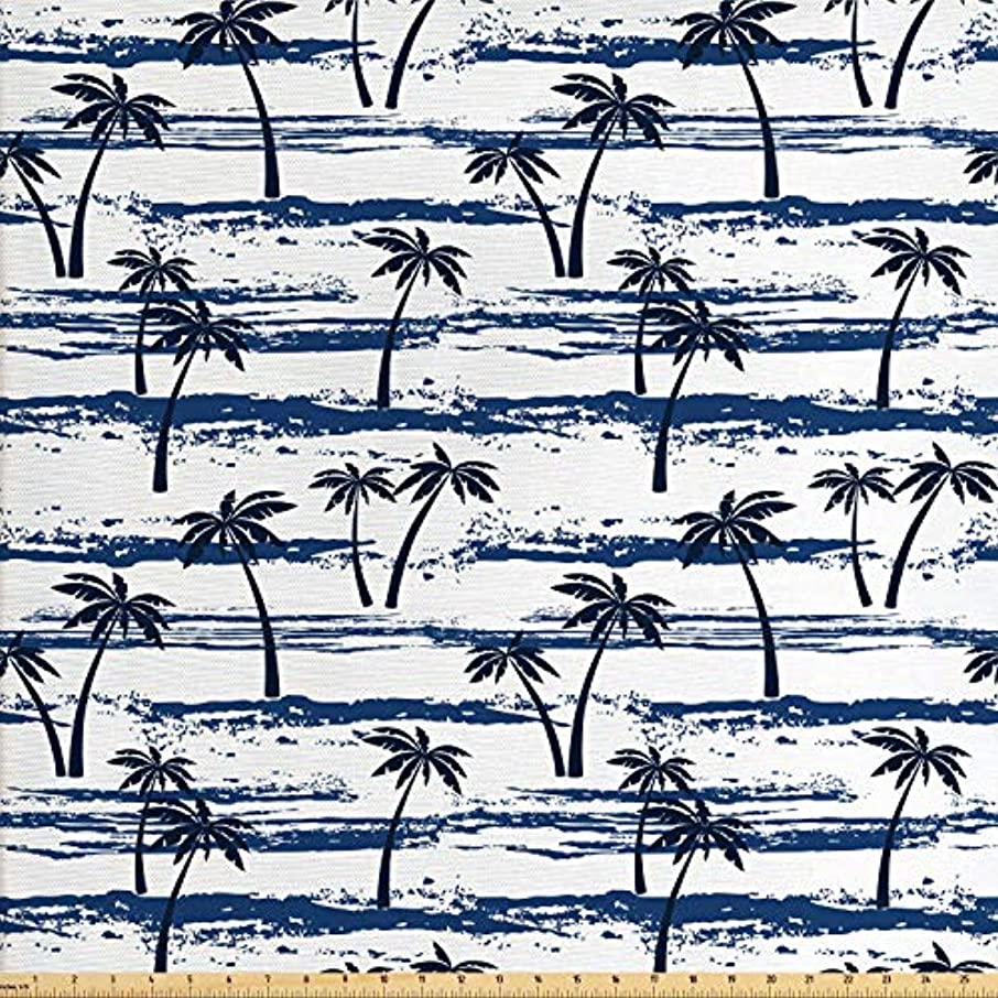 Lunarable Tropical Fabric by The Yard, Grunge Looking Abstract Pattern Exotic Coconut Palm Trees Beach, Decorative Fabric for Upholstery and Home Accents, 1 Yard, Night Blue Dark Blue White
