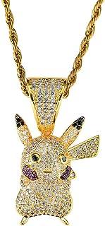 KMASAL Jewelry - Collana placcata in oro 18 K, con ciondolo a forma di cartone animato, stile hip hop, con ciondolo a form...
