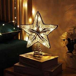 MoKo Christmas Tree Topper, 10 Inches Star Shaped Christmas Party Festival Holiday Traditional Decorations Iron Decorative Light Present Gift Home Decor Décor Ornament - Silver