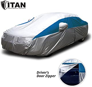 Titan Lightweight Car Cover for Toyota Camry, Mustang and More. Waterproof Car Cover Measures 200 Inches, Comes with 7 Foot Cable & Lock, and Drive Side Zippered Door. (Bondi Blue)