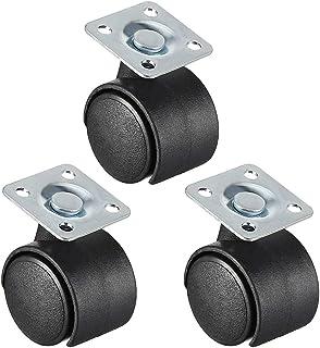 "CHENTAOMAYAN Bureaustoel Casters Nylon Twin Wheel, Top Plate Mount Swivel 1 ""geen rem 3 stks (Maat: 1 inch geen rem 3 sts)"