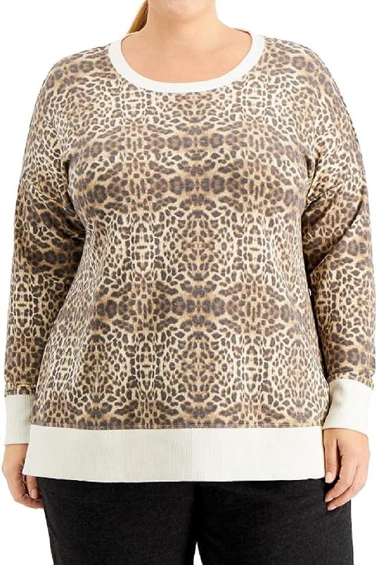 Ideology Plus Size Leopard-Print Sweatshirt 2X