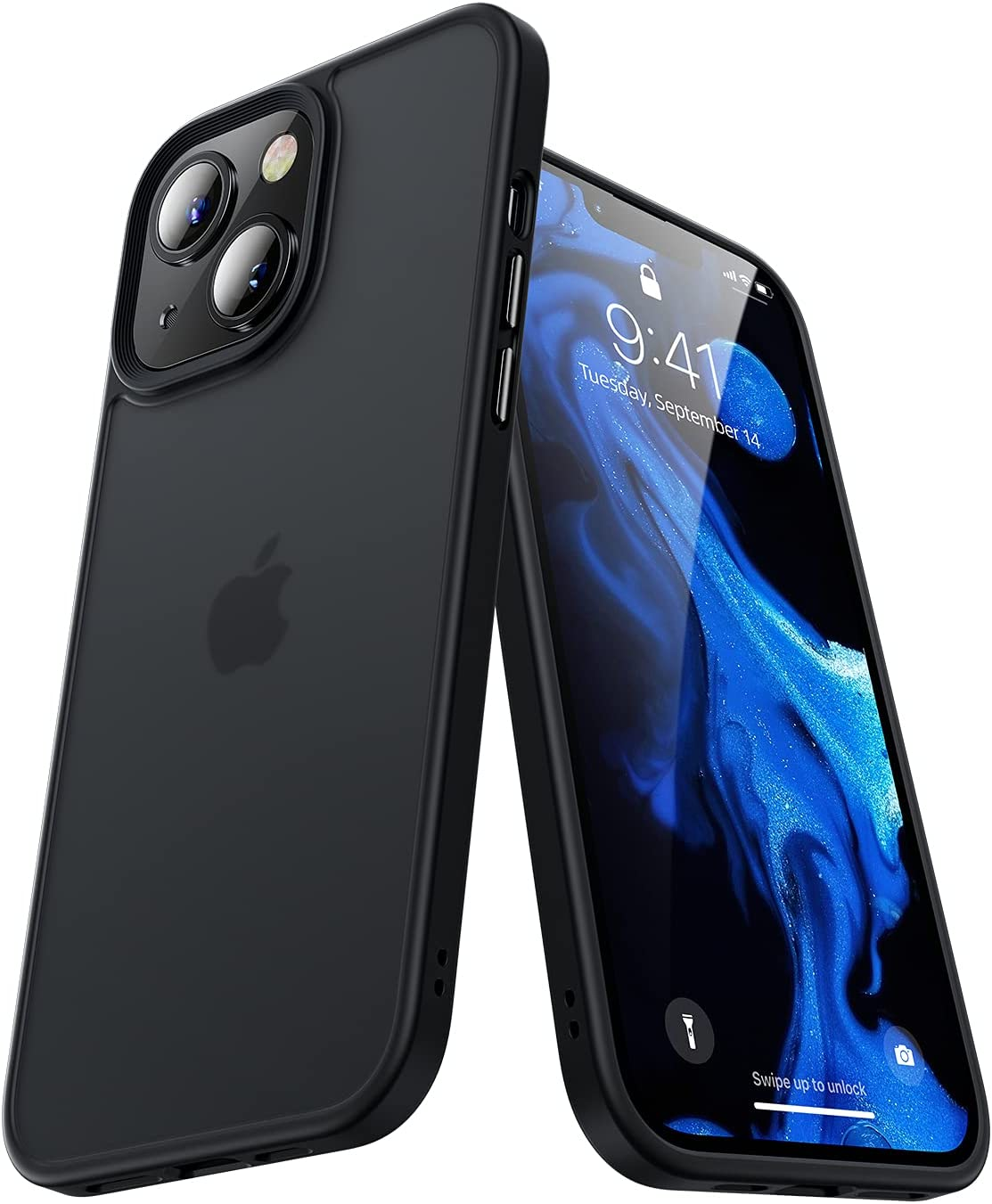 BENKS Compatible for iPhone 13 [Military Grade Drop Armor Material], Translucent Matte PC with Soft Edges, Shockproof Phone Case Designed for iPhone 13 6.1inch (2021),Black