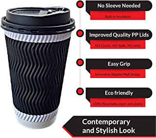 Eco Friendly 50 Pack Disposable Coffee Cups with Lids and Straws |No Sleeve needed Insulated Double Ripple Wall Cup – Heat Proof and Easy Grip |Hot Drink To Go Cups for Travel 12 OZ | Set of 50