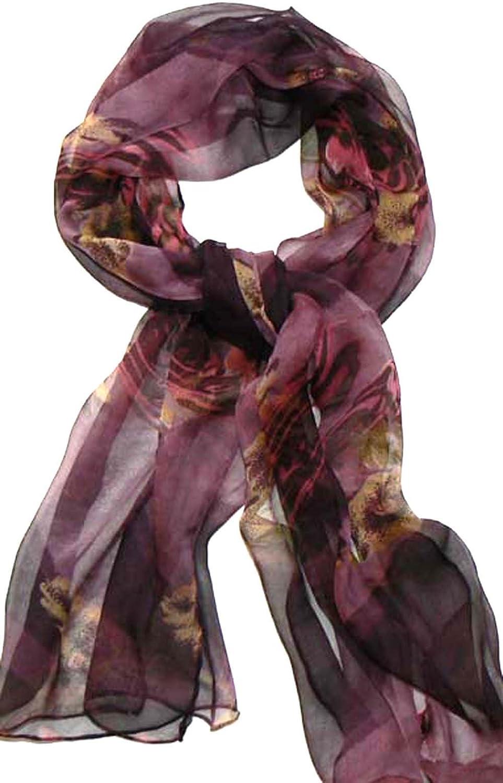 Silk Salon Oblong 100% Silk Scarf Belt Hand Rolled Flower Purple A724