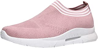 Women Flat Solid Casual Shoes ❀ Ladies Summer Mesh Breathable Running Shoes Round Head Slip-On Sports Sneakers