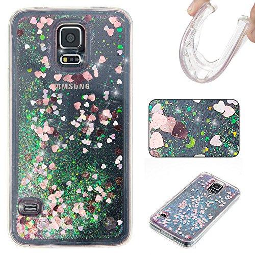Hülle für Samsung S5 / S5 Neo, CaseLover TPU Weich Silikon Modisch Case für Samsung Galaxy i9600 SM-G900F, Pailletten Liquid Floating Quicksand Sparkle Galaxy S5 5.1' Schutzhülle