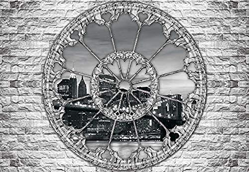 Fototapete Tapete 3D New York Brooklyn Bridge Uhr Fensteransicht Tapete Mural New York Wohnzimmer Schlafzimmer Tv Sofa Hintergrundbild Mural 3D Wandtapete-200Cmx140Cm