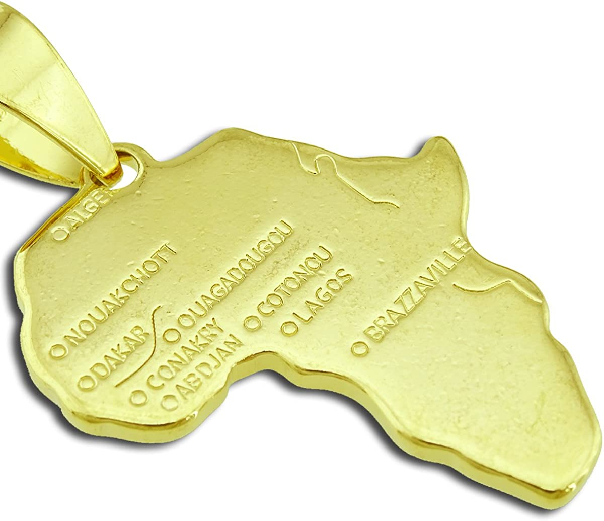 Passage 7 18K Real Gold Plated Map of African Pendant Necklace