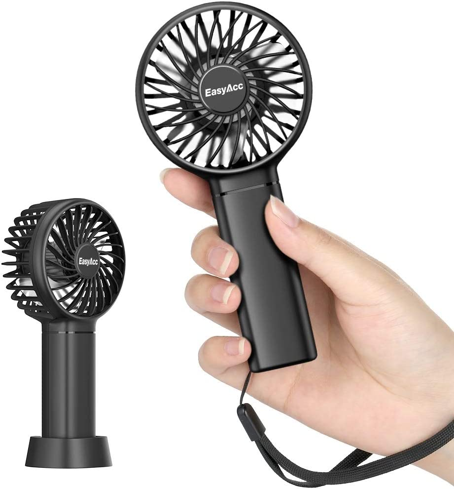 Mini Handheld Fan EasyAcc Portable Personal Pocket Fan 5.5-17H 3 Speeds with Lanyard and Detachable Base Cooling Desk Fan for Kids Elderly Women for Travel and Home White