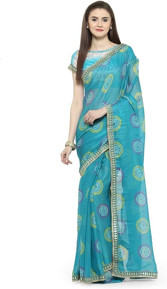 Indian Aarrah Women's Chiffon Saree with Blouse Piece (PNIHARI1003SSSR1, Blue) Saree