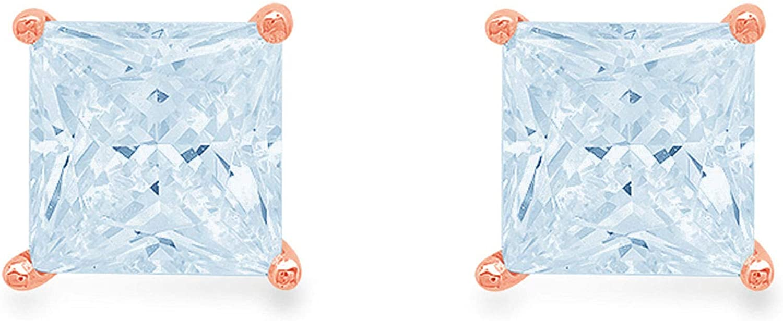 0.94cttw Brilliant Princess Cut Solitaire Natural VVS1 Genuine Swiss Blue Topaz Gemstone Pair of Designer Stud Earrings Solid 18k Pink Rose Gold Butterfly Push Back