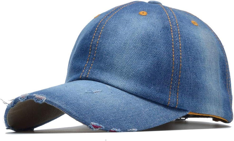 AZSXDC Fashion Solid Denim Baseball Cap Women Girls Bone Hip Hop Hat Baseball