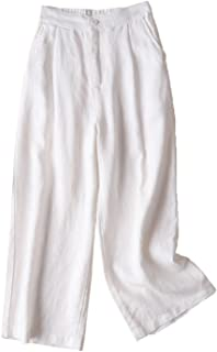 IXIMO Women's 100% Linen Wide Leg Pants Front Pleated Cropped Palazzo Trousrs with Button Closure