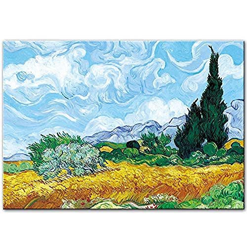 WJY Van Gogh Cypress en el Campo de Trigo Pinturas de Arte