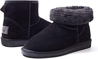 Women's Classics Winter Snow Boots Cow Suede Leather Mid-Calf Fur Lined Warm Shoes Outdoor Ankle Booties