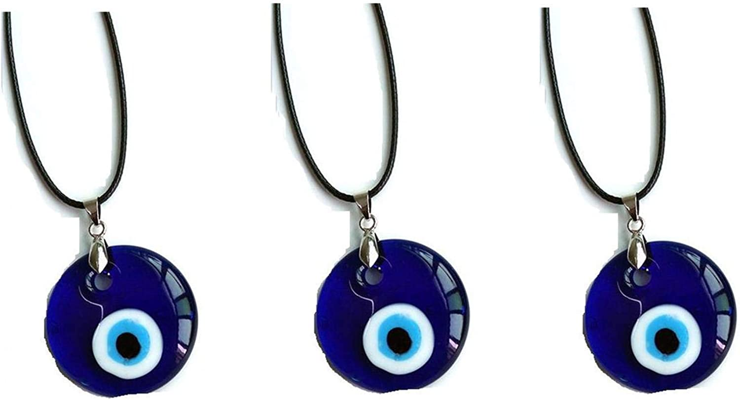 3Pcs Turkish Blue Evil Eye Beads Charms Pendants Necklace Glass Eyes Beads Leather Rope Chain Protact Lucky Necklace for Women Men Jewelry(35mm)