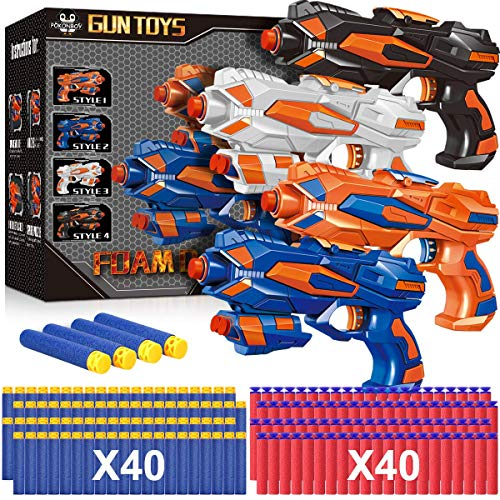 POKONBOY 4 Pack Blaster Guns Compatible with Nerf Guns Bullets, Toy Guns for Boys Girls with 80 Pack Foam Refill Darts, Hand Gun Toys for 6+ Year Old Kids Birthday Christmas
