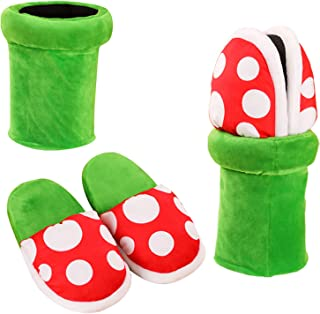 Piranha Plants Plush Home Wear Slippers Cannibal Flower Shape Cosplay Shoes/Dot Pattern Slippers Loafer with Pipe Pot Holder for Adults Teens Women and Men
