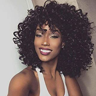Short Black Kinky Curly Wig with Bangs Fluffy Wavy Synthetic Afro Curly Hair Wigs for Black Women