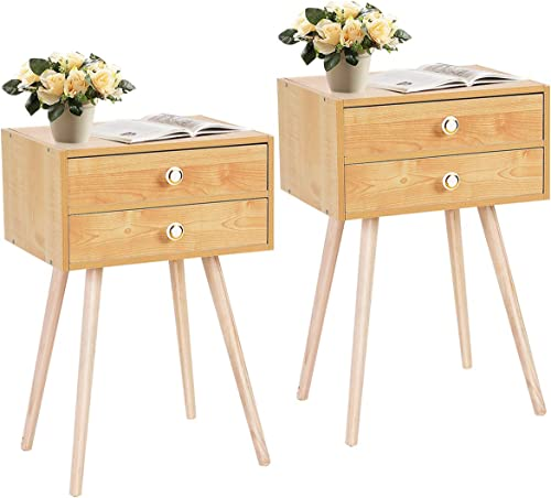 popular Giantex Nightstand W/2 Drawers for Bedroom Living popular Room Small Spaces Modern Home Furniture Simple Natural Legs Storage End sale Side Tables (2, Natural) outlet sale