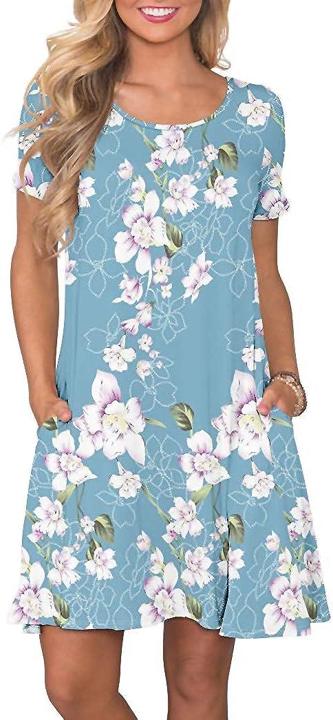 Women's Casual Plain Simple T-Shirt Loose Dress (Small, Flower Light Blue)