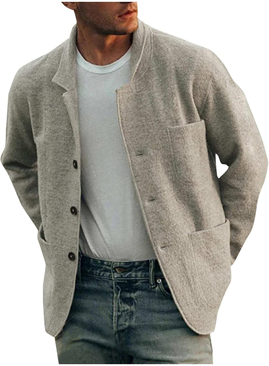 Huangse Mens Wool Blend Casual Blazer Fall Winter Outerwear Coat Business Jacket Button Down Front Pocket