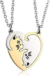 Zysta, collana in acciaio inox Yin Yang, collana dell'amicizia, coppia Taichi Fengshui, ciondolo a forma di puzzle, colore...