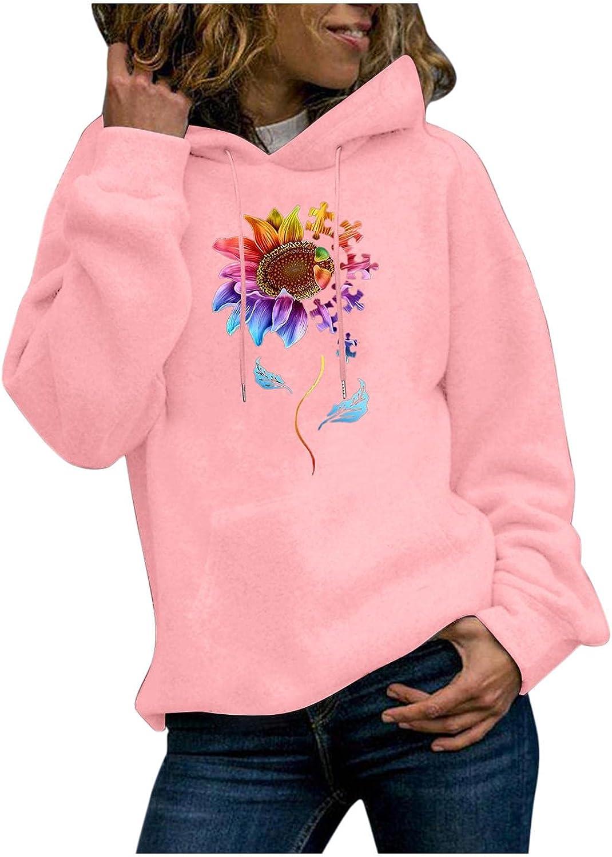 Gerichy Hoodies for Women, Womens Long Sleeve Sunflower Print Fall Hoodies Cute Plus Size Sweater Hoodies with Pocket