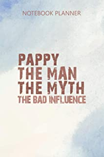 Notebook Planner Pappy The Man Myth Bad Influence Vintage Gift Christmas: Mom, 6x9 inch, Budget Tracker, Journal, Diary, D...