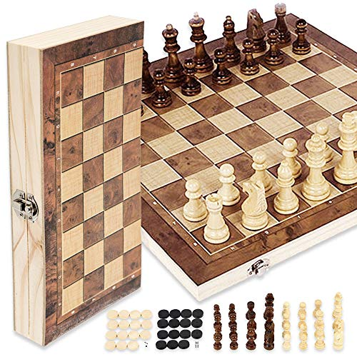 78Henstridge Schachspiel Schach Schachbrett Holz,Klappbar Chess Board Set mit Aufbewahrungsbox,Wooden Chess Set für Kinder Erwachsene 29x29cm