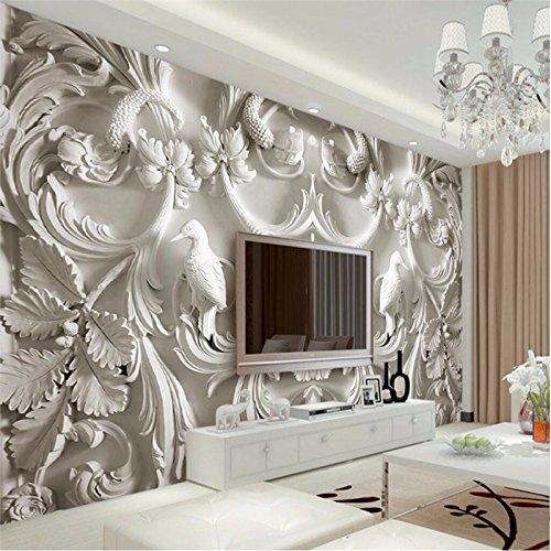 LHDLily 3D Tapete 3D Wallpaper Fresken Wandbilder Verdicken Moderne Malerei Für Wohnzimmer Hintergrund Fotografie Hd Blumen Geprägte Visuelle Effekte Hotel 350Cmx250Cm