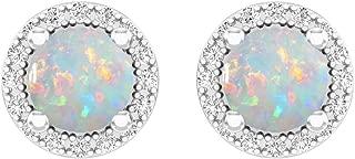 14K Ladies Halo Style Stud Earrings, White Gold