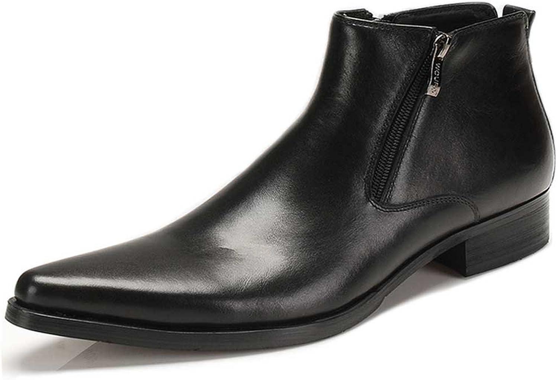 Fulinken Genuine läder Pointed Toe Chat Zip Man Formala skor skor skor Klädstövlar  högkvalitativa varor och bekväm, ärlig service