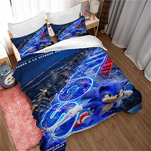 SK-YBB Sonic The Hedgehog - Juego de ropa de cama infantil (3 piezas, suave, 100% microfibra, adecuado para adultos/adolescentes, regalo (B8, Super King 220 x 260 cm (80 x 80 cm)