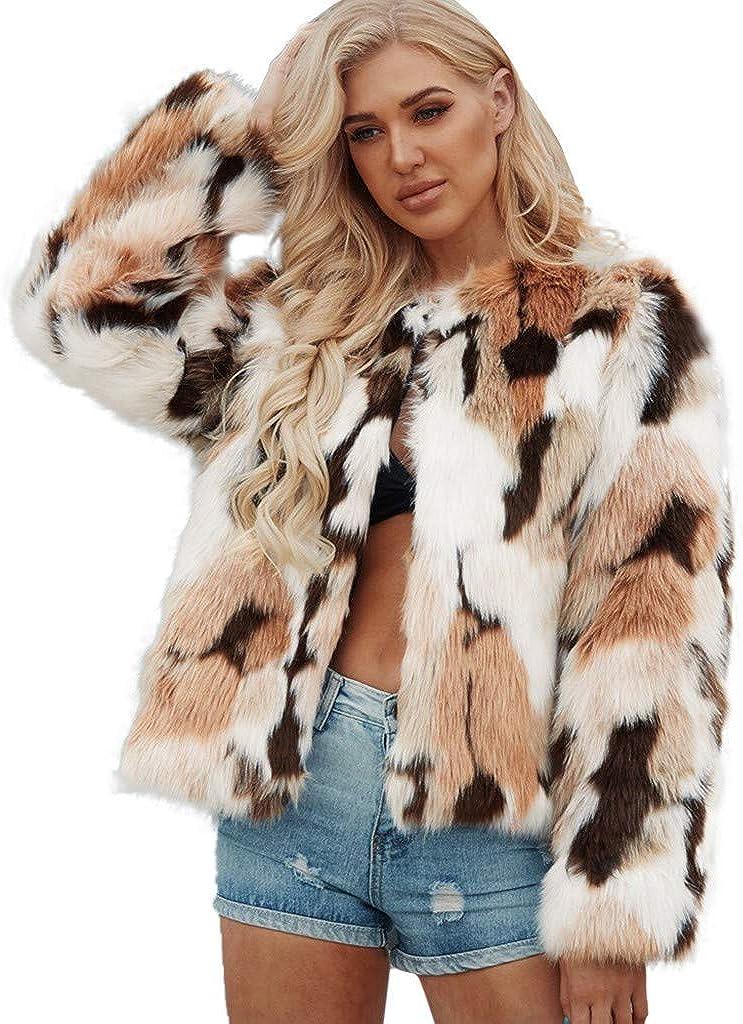 Forwelly Plus Size Winter Coat for Women Fashion Leopard Print Long Sleeve Faux Fur Jacket Short Cardigan Coat