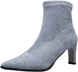 Cenglings Women's Pointed Toe Block Heels Pumps Slip On Party Dress Shoes Plus Size Socks Booties Office Ankle Booties