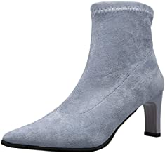 Onefa Women Boots Women's Winter New Ankle Bootie Thin High Heel Boots Pointed Toe Shoes Party Boots