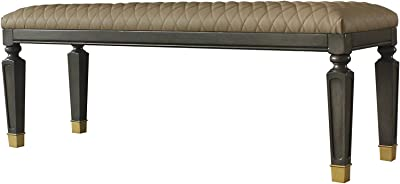 Acme Furniture Marchesa Bench, Beige and Gold and Tobacco
