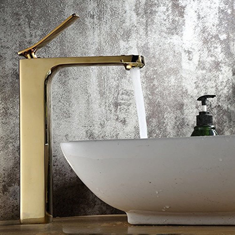 FERZA Home Waschbecken-Mischbatterie Badezimmer-Küche-Becken-Hahn auslaufsicher Wasser sparen Kupfer überzogenes heies und kaltes Gold