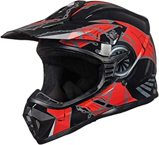ILM Adult Youth Kids ATV Motocross Dirt Bike Motorcycle BMX MX Downhill Off-Road Helmet DOT Approved (RED BLACK,  Adult-XXL)