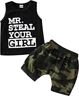 SANMIO Toddle Infant Baby Boy Clothes Mr Steal Your Girl Vest + Camouflage Shorts Summer Cotton Sleeveless Outfit Set