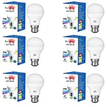 ROOH DECOR 9-Watts B22 LED with 1 Year Warranty Cool White Bulb | MADE IN INDIA (Pack of 6)
