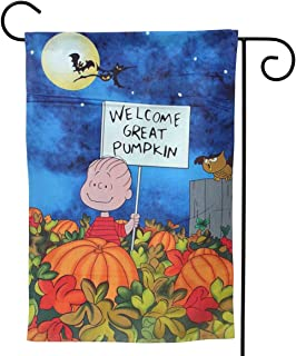 OAbear Peanuts Great Pumpkin Halloween Unique Double Sided Garden Yard Decorations Flag 12.5 X 18 Inch