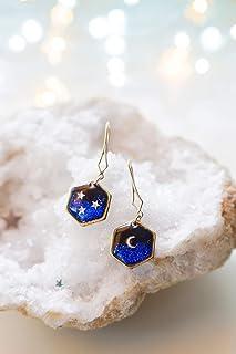 Orecchini a forma di luna e stelle, orecchini celesti, orecchini geometrici in oro, orecchini fatti a mano, gioielli delic...