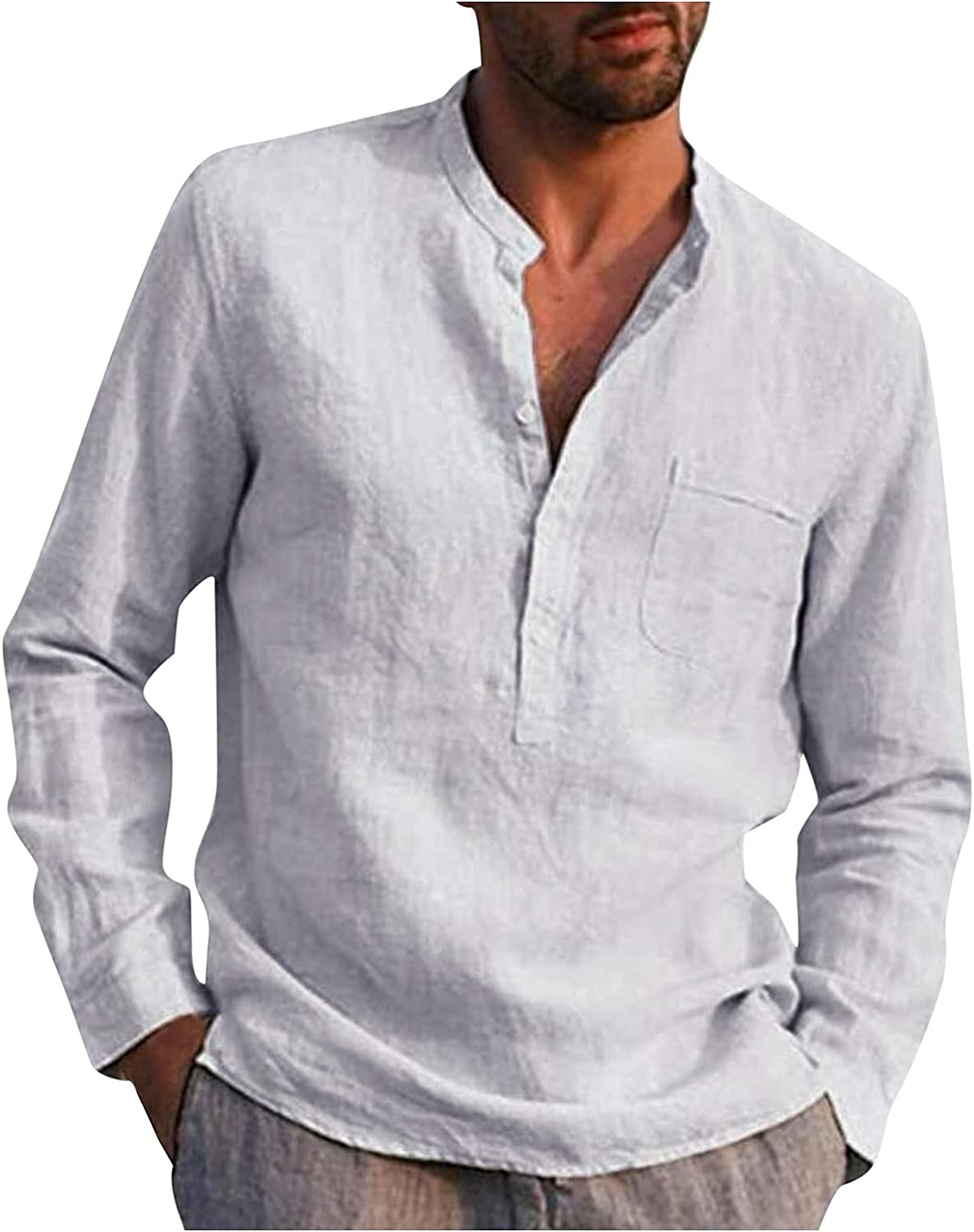 WOCACHI Men's Casual Shirts, 2021 Button-up Henley Front Placket Long Sleeve Cotton Linen Tops Tshirts with Pocket